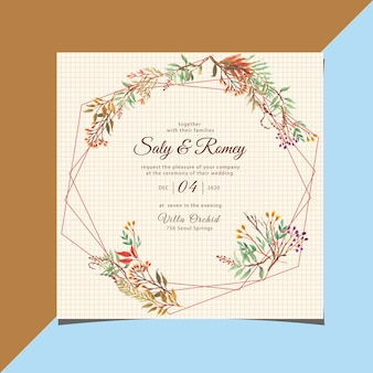 Invitation de mariage vintage avec aquarelle géométrique et floral