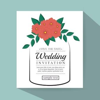 Invitation de mariage vintage avec des éléments floraux