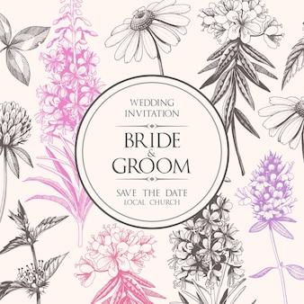 Invitation de mariage vintage avec des fleurs de madow dessinées à la main