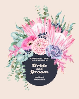 Invitation de mariage vintage avec des fleurs et des plantes succulentes très détaillées