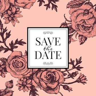 Invitation de mariage vintage avec des fleurs roses. enregistrez la conception de la date. illustration vectorielle de croquis dessinés à la main