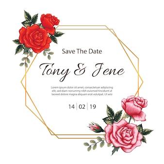 Invitation de mariage vintage de fleurs roses.