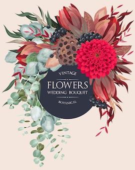 Invitation de mariage vintage avec des fleurs et de la verdure très détaillées