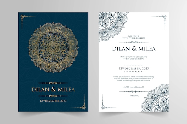 Invitation de mariage vintage avec mandala