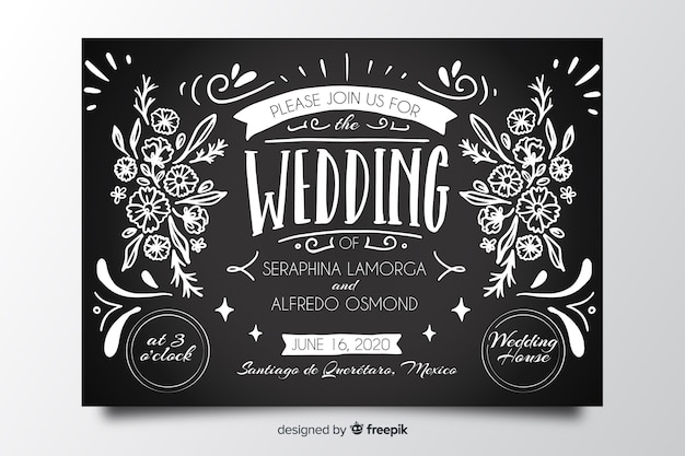 Invitation de mariage vintage sur modèle de tableau