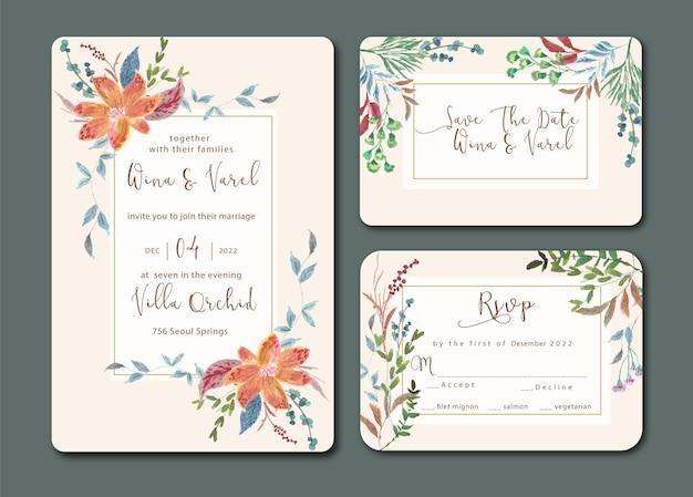 Invitation de mariage vintage sertie d'aquarelle florale fraîche