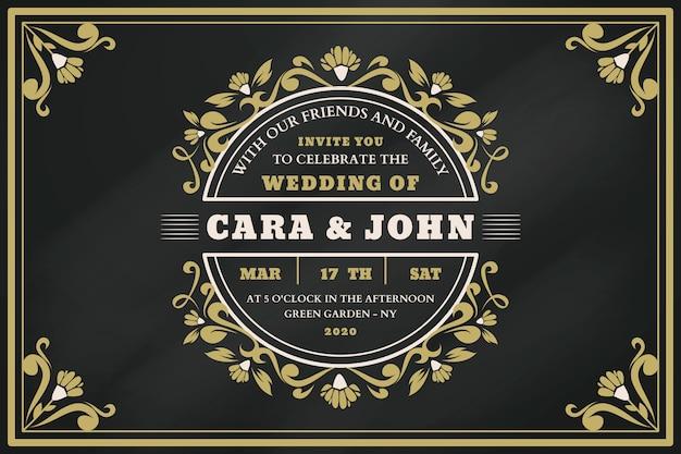Invitation de mariage vintage sur tableau noir