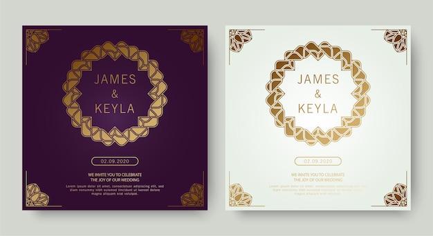 Invitation de mariage violet et blanc de luxe vintage