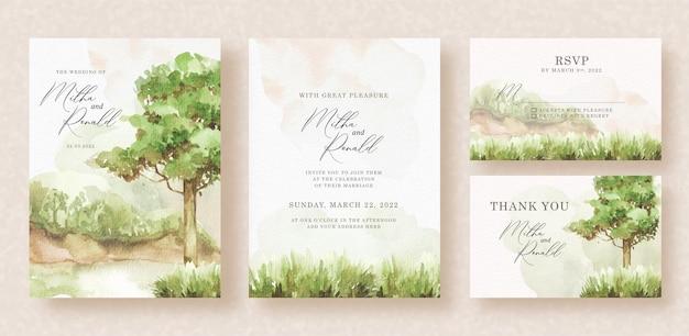 Invitation de mariage avec vue sur les arbres et fond de peinture à l'aquarelle d'herbe verte