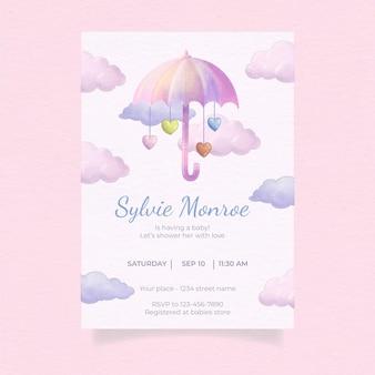 Invitation mignonne de fête de naissance de chuva de amor