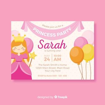 Invitation mignonne de fête de princesse