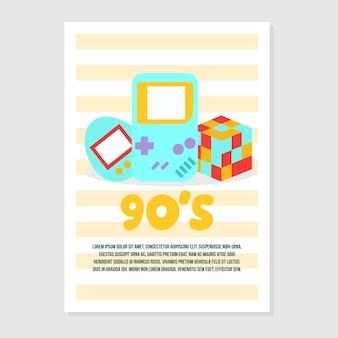 Invitation mignonne et modèle de carte de voeux sur les jeux rétro