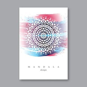 Invitation, modèle de carte de mariage avec mandala dessiné à la main, fond aquarelle. style oriental vintage. motif indien, asiatique, arabe, islamique, ottoman, asiatique.