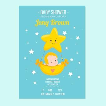 Invitation de modèle de douche de bébé avec concept de garçon