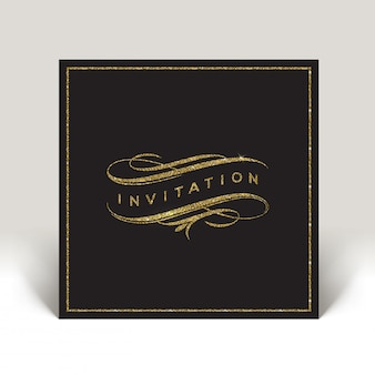 Invitation de modèle avec des éléments de paillettes d'or s'épanouit - illustration