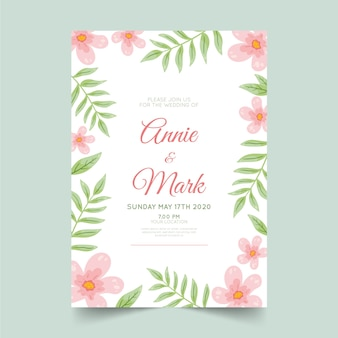 Invitation de modèle de mariage floral
