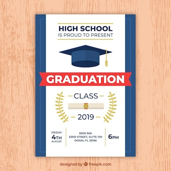 Invitation moderne de fête de remise des diplômes blanc et bleu