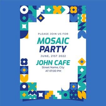 Invitation mosaïque design plat