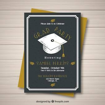 Invitation noire de fête de remise des diplômes