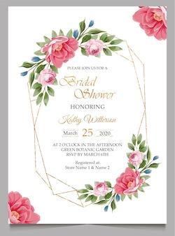 Invitation nuptiale de douche avec des fleurs