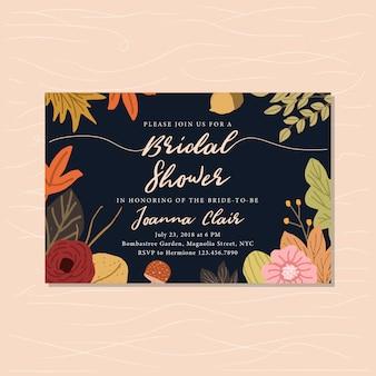 Invitation nuptiale de douche avec fond floral d'automne mignon