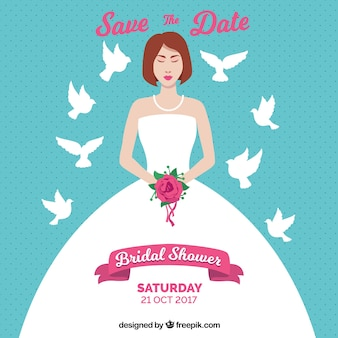 Invitation nuptiale de douche avec la jeune mariée et colombes