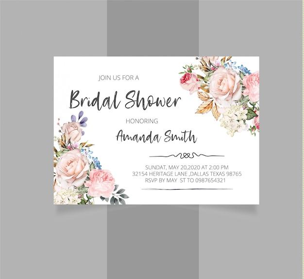 Invitation nuptiale florale rustique de douche