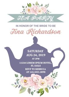 Invitation nuptiale de thé de thé avec la fleur rose