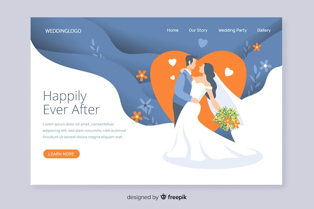 Invitation de page d'atterrissage de mariage romantique