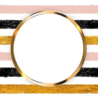 Invitation avec peinture dorée art texturé scintillant et cadre sur fond transparent