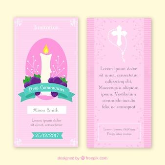 Invitation de première communion aux bougies et aux raisins