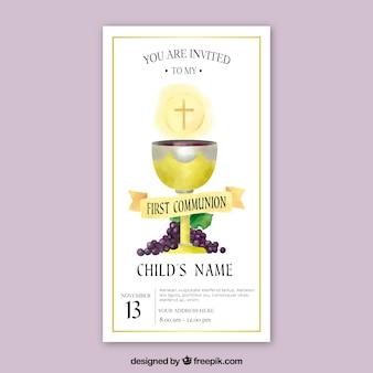 Invitation de première communion avec le calice