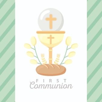Invitation à la première communion avec calice