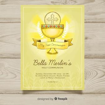 Invitation de première communion du calice dessiné