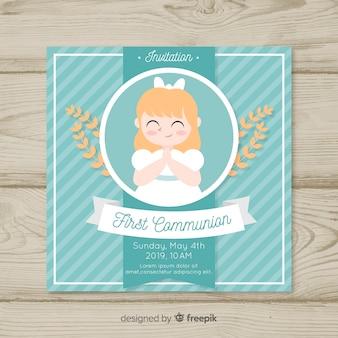 Invitation de première communion rayée