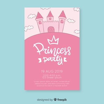 Invitation de princesse anniversaire château dessiné à la main