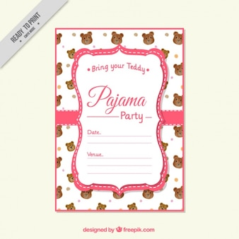 Invitation pyjama party avec ours