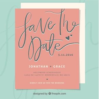Invitation rose de mariage de cru