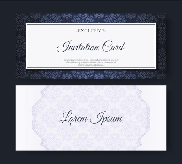 Invitation de style élégant motif bleu