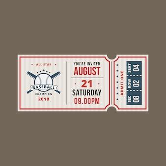 Invitation à un ticket de baseball