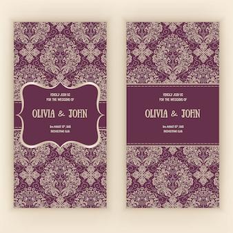 Invitation de vecteur, cartes ou carte de mariage avec damassé et éléments floraux élégants.