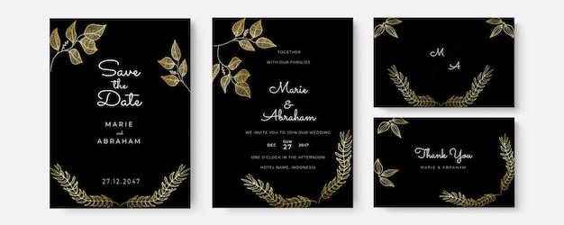 Invitation de vecteur avec des éléments floraux or. modèle d'ornement de luxe. carte de voeux, fond de conception d'invitation