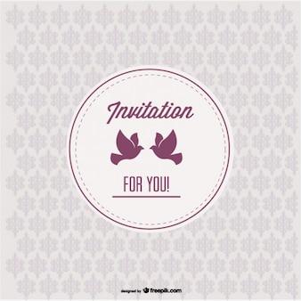 Invitation vintage avec des oiseaux d'amour et de design pattern