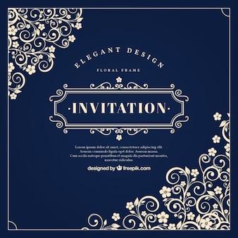 Invitation vintage avec des ornements floraux