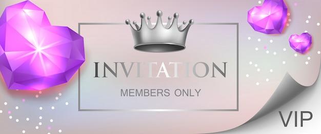Invitation vip, inscription réservée aux membres avec des coeurs en diamant