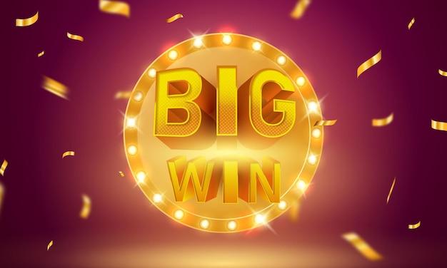 Invitation vip de luxe de casino de grande victoire avec le fond de bannière de jeu de fête de célébration de confettis.
