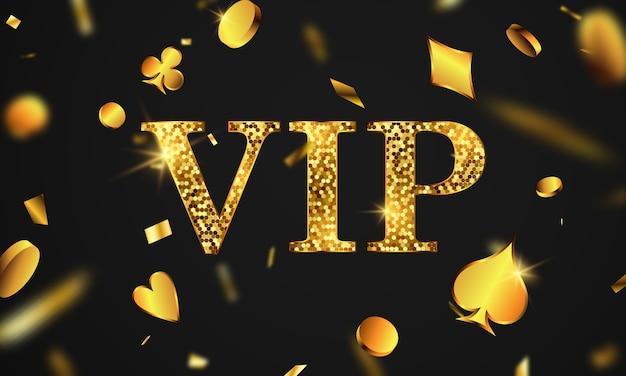 Invitation vip de luxe de poker vip avec des confettis fête de célébration fond de bannière de jeu.