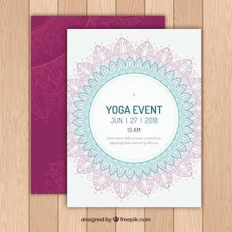 Invitation de yoga dans le style mandala