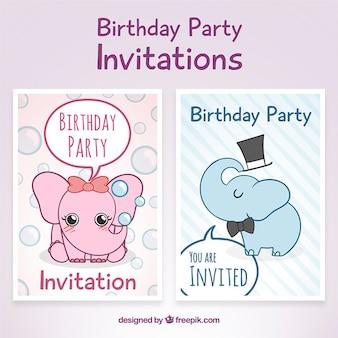 Invitations d'anniversaire de partie avec les éléphants