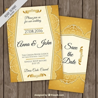 Invitations élégantes de mariage d'or